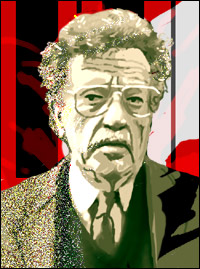 Author Kurt Vonnegut against a background that recalls his books Player Piano and Slaughterhouse 5