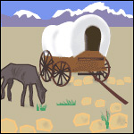 A wagon and a horse.