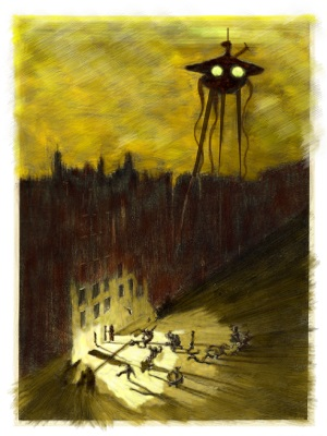 Artwork depicting scene from War of the Worlds.