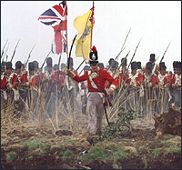 British troops lead the attack on the French at the Battle of Waterloo.