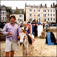 Roland Rivron and family in Weymouth.