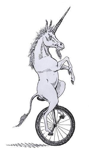 A unicorn on a unicycle.