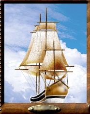 An old-fashioned sailing ship.