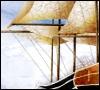 An old-fashioned sailing ship.