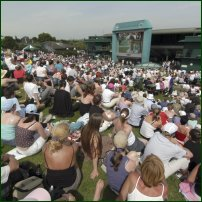 Spectators gather at what has become known as 'Henman Hill' during Wimbledon 2005.