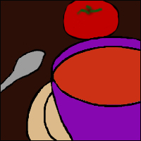 An abstract illustration of a bowl of winter soup, a spoon and a tomato.
