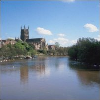 Worcester, overlooking the River Severn.