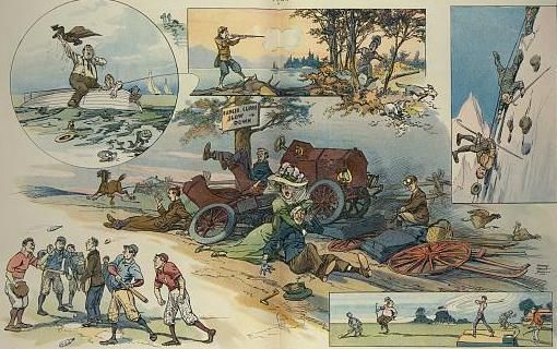 Cartoon showing the many possible bad effects of outdoor recreational activities.