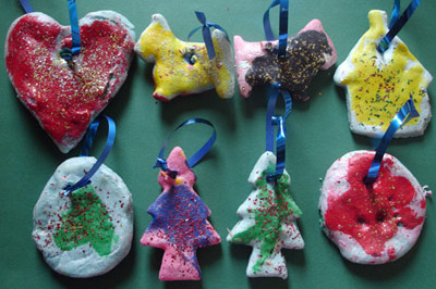 A selection of salt dough shaped decorations.