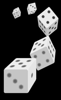 Five dice rolling through the air - graphic by Jimster.