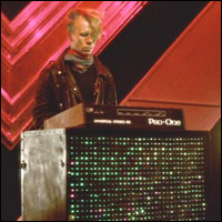 Vince Clarke of Yazoo, an English synthpop duo, playing a synthesizer.