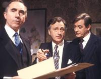 Nigel Hawthorne as Sir Humphrey, Paul Eddington as Jim Hacker and Derek Fowlds as Bernard in Yes Minister.