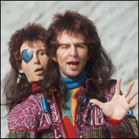 Mark Wing-Davey as Zaphod Beeblebrox in 'The Hitchhiker's Guide to the Galaxy'.