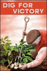 An World War II poster depicting an old man 'digging for victory'.